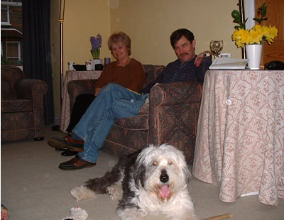 Sheba at home in Putney with Chris and Cynthia, March 2003